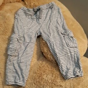 Grey and white striped baby gap cargo pants